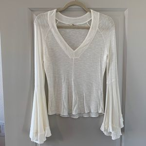 Free People soo dramatic fitted bell sleeve top